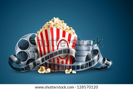 movie film reel and popcorn vector illustration on the blue background EPS10. Transparent objects used for shadows and lights drawing. Vector Illustration. stock photo