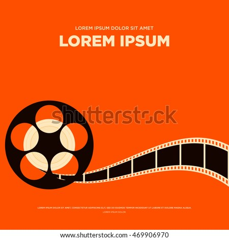 Movie film reel and strip vintage poster isolated, vector illustration