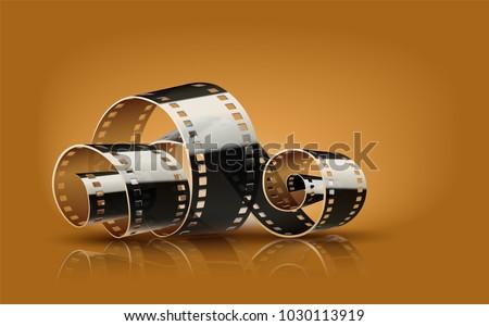 Movie film reel. Cinematography concept for online cinema. Vector illustration.