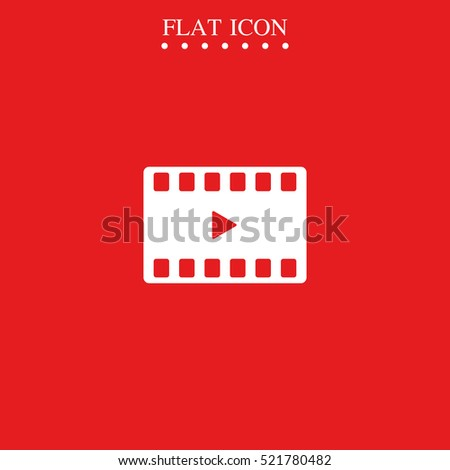 Movie film strip icon. Play button.