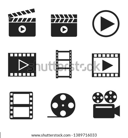 Movie, filmmaking glyph icons set. Clapboard, tape, camera, frame isolated vector silhouette illustrations. Multimedia, audio, video concept. Entertainment business, cinema. Amusement industry