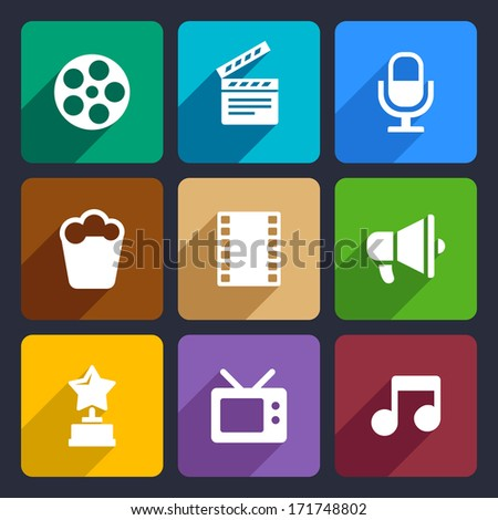 Movie Flat Icons Set 37 - Shutterstock ID 171748802