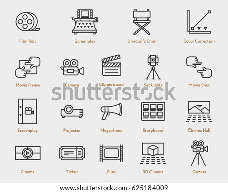 Movie Flat Line Outline Stroke Icon Pictogram Symbol Set Collection. Camera Film, Spotlight, Script, Screenplay, Storyboard, Ticket, Video, Projector, Director Chair, Clapperboard, 3D Cinema