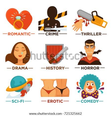 movie genre cinema vector icons