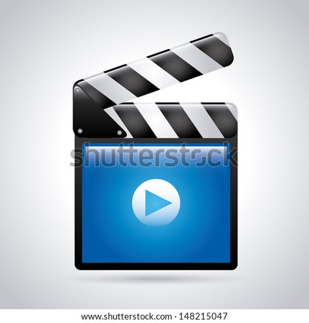 movie icon over gray background vector illustration