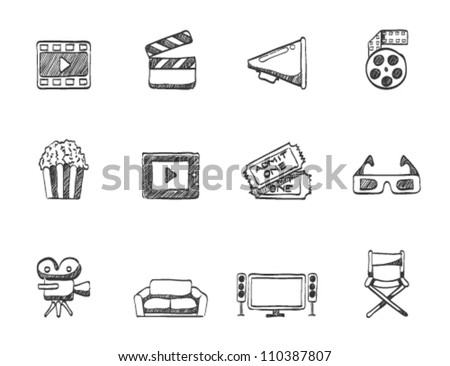 Movie icon series in sketch. - stock vector