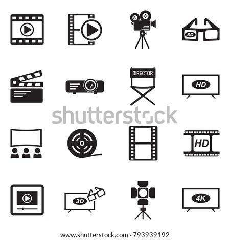 Movie Icons. Black Flat Design. Vector Illustration.