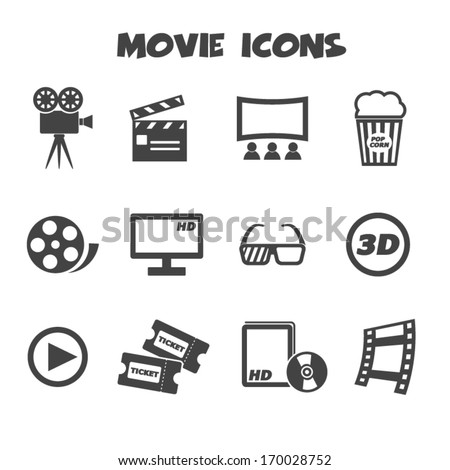 movie icons, mono vector symbols