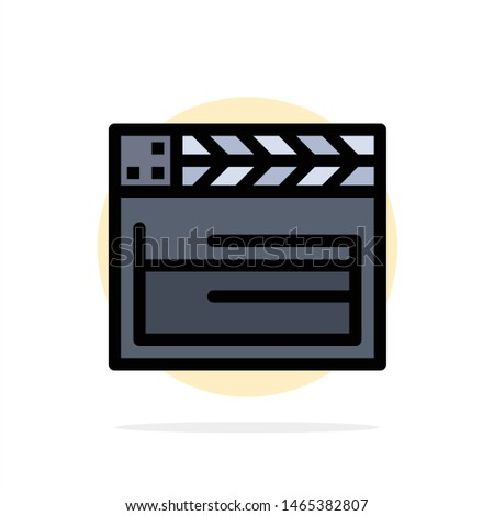 Movie, ideo Abstract Circle Background Flat color Icon. Vector Icon Template background