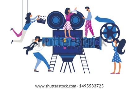 Movie Making Process Metaphor with Operator Using Huge Video Camera and Staff with Professional Equipment for Recording Film. Women with Clapperboard and Reel Film Cartoon Flat Vector Illustration
