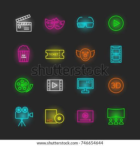 movie neon icon set, vector design editable stroke