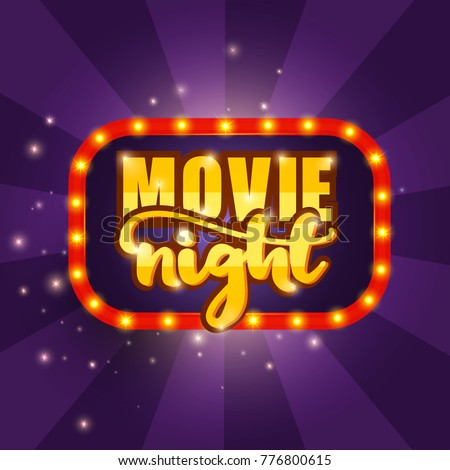 Movie Night Banner. Vector illustration.