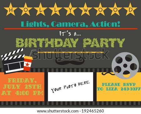 Movie night. Birthday party card
