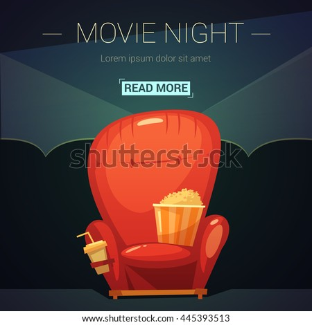 movie night cartoon background