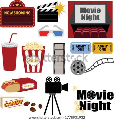 Movie Night Essential Clipart. popcorn movie night scene film camera candy hotdog drink movie ticket