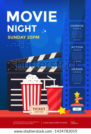 Movie night poster design template. Cinema banner with clapboard, ticket, film strip and popcorn. Vector illustration