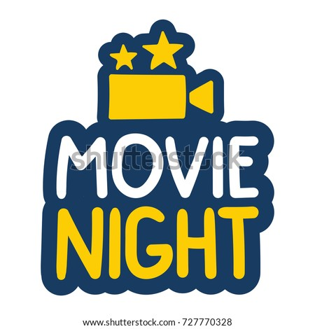 Movie night. Vector hand drawn illustration badge, label, sticker with camera icon on white background.