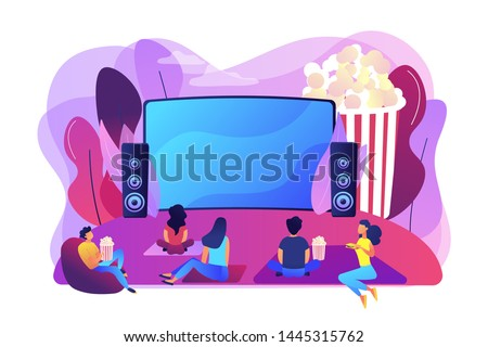 Movie night with friends. Watching film on big screen with sound system. Open air cinema, outdoor movie theater, backyard theater gear concept. Bright vibrant violet vector isolated illustration
