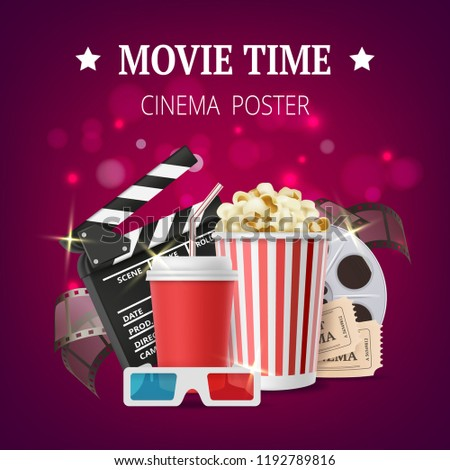 Movie poster. Cinema placard design template with film production vector symbols tape stereo glasses popcorn clapperboards. Illustratation of movie banner, cinema time
