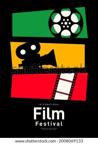 Movie poster design template background with vintage film reel and camera. Can be used for backdrop, banner, brochure, leaflet, flyer, print, publication, vector illustration