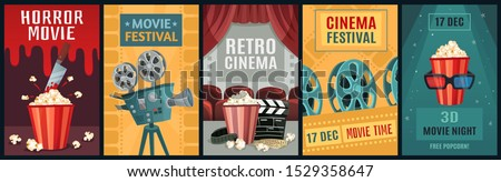 Movie poster. Horror film, cinema camera and retro movies night posters template. Old movie festival invitations cards, cinematography ticket or brochure vector illustration set
