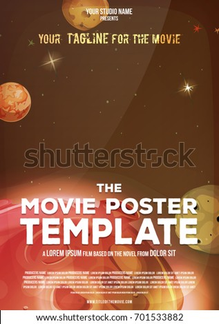 Movie Poster Template/ Illustration of a space movie poster template, with title, tagline and lines for producers and casting