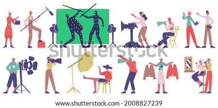 Movie production. Cinema filming shooting locations, actors and film director in movie production process vector illustration set. Film production crew. Team working with cameraman, dresser