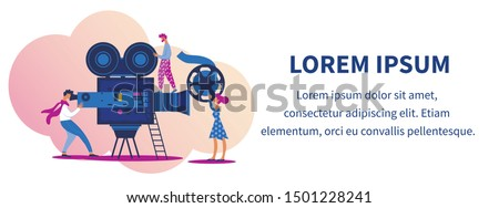 Movie Production Process with Actors and Staff Making Cinema. Operator Shooting Film on Videocamera, Woman Holding Film Reel. Moviemaking Industry Cartoon Flat Vector Illustration, Horizontal Banner