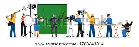 Movie production scene. Isolated film production people crew making movie. Film director man, actor person, camera operator shooting, lighting technician woman, sound designer vector illustration
