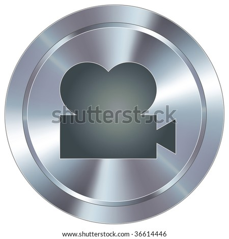 Movie projector icon on round stainless steel modern industrial button