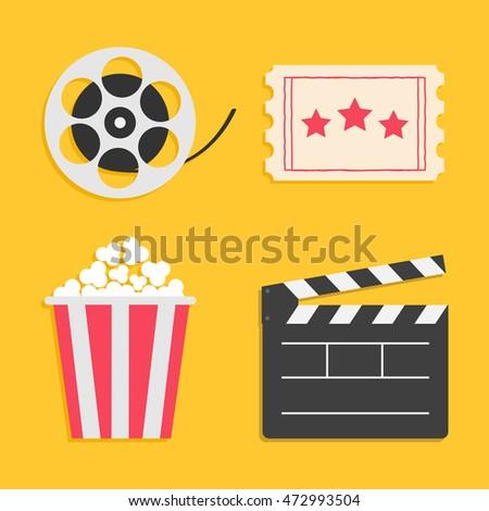 Movie reel Open clapper board Popcorn Ticket Cinema icon set. Flat design style. Yellow background. Vector illustration