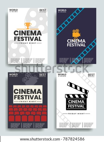 Movie retro posters and flyer set . Vintage cinema promotional printing vector banners collection