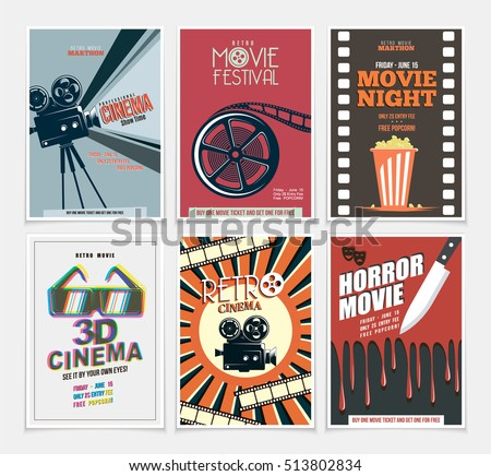 Movie retro posters and flyers set. Vintage cinema promotional printing collection. Can be used for ad, banner, we design. Layout template in A4 size.