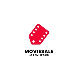 Movie sale promotion shop logo design. Film strip with price tag vector illustration for movie market store discount concept graphic template.