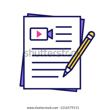 Movie scripts color icon. Screenplay writing. Scenario. Film making. Isolated vector illustration