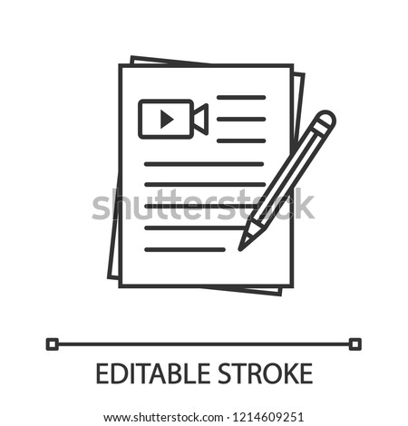 Movie scripts linear icon. Screenplay writing. Thin line illustration. Scenario. Film making. Contour symbol. Vector isolated outline drawing. Editable stroke