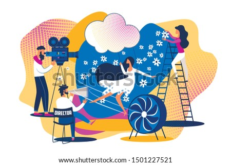 Movie Set Scene Shooting. Action Picture Making. Cartoon People Film Production Team. Woman Actress Backstage. Music Video Record. Director Chair Megaphone, Camera Camcorder, Operator Work