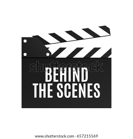Movie slapstick isolated vector illustration. Behind the scenes inscription on flapper