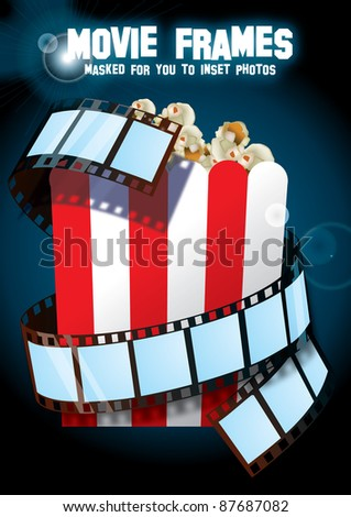 movie strip arond popcorn box - frames is vector masks