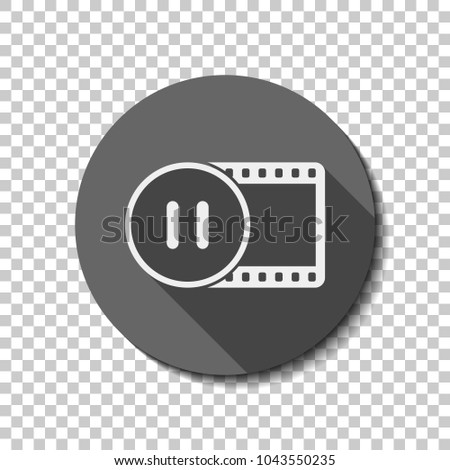 movie strip with pause symbol in circle. simple silhouette. White flat icon with long shadow in circle on transparent background