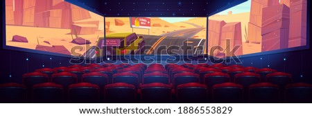 Movie theater, cinema hall with three-sided panoramic screen and rows of red seats. Vector cartoon interior of dark cinema auditorium, chair backs and 3d video with car on desert road on screen