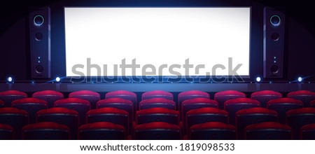 Movie theater, cinema hall with white screen and rows of red seats. Vector cartoon interior of dark cinema auditorium with light blank screen, chair backs, projectors and sound speakers