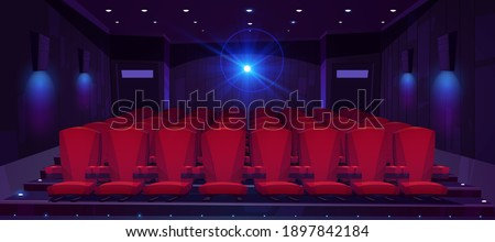Movie theater hall with seat rows for audience and cinema projector. Vector cartoon illustration of empty auditorium interior with modern red chairs and light from projector