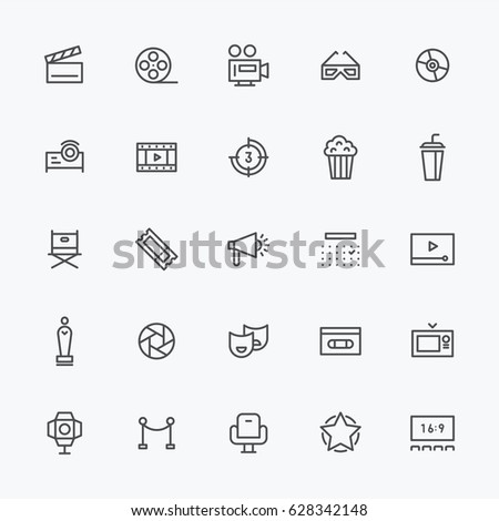 movie theater object line icons vector illustration flat design