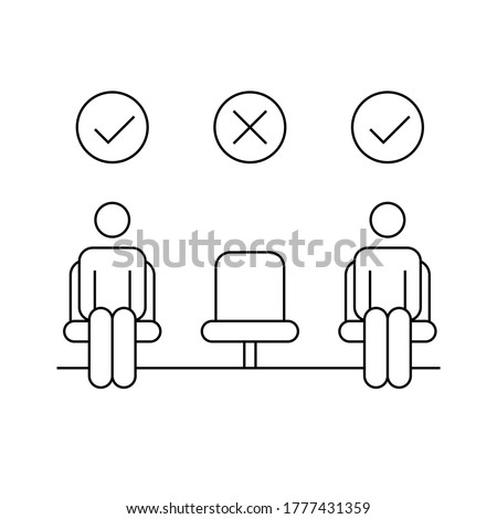 Movie theater reopen concept. Two men in seats with one empty chair. Social distancing in public places. Stick man line icon. Black outline on white background. Vector illustration, flat, clip art. Foto stock ©