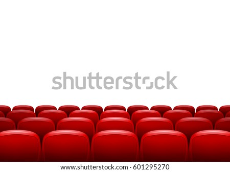 Movie theater with row of red seats isolated. Premiere event template. Super Show design. Presentation concept with place for text. Zdjęcia stock ©