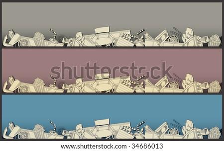 movie theme border - vector - stock vector