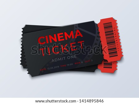 Movie ticket template. Realistic cinema theater admission pass mockup, 3D festival and performance coupon. Vector vintage illustration theater retro tickets