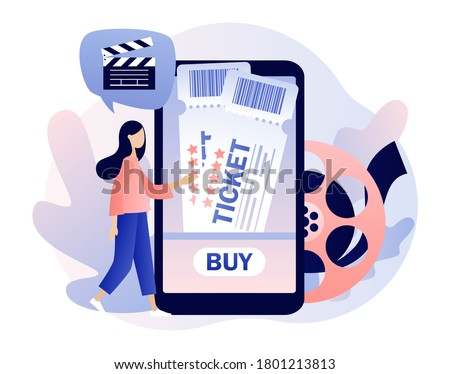 Movie tickets online sale. Tiny girl buy tickets on the smartphone app. Online cinema. Mobile movie theater. Cinematography. Modern flat cartoon style. Vector illustration on white background