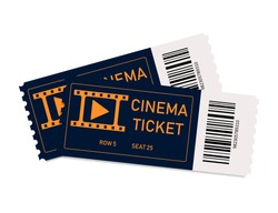 Movie tickets. Two tickets in cinema or theater. Coupon with admit. Film concept. Background for realistic paper ticket on front view. Card or template for enter to concert, festival. Vector.